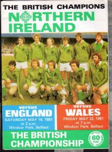Official Match Programme, Northern Ireland v England-wales , 1981 ...