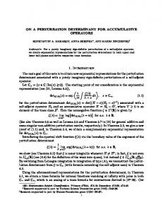 ON A PERTURBATION DETERMINANT FOR ...