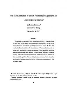On the Existence of Limit Admissible Equilibria in ...