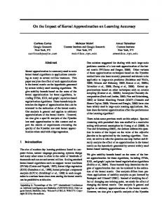 On the Impact of Kernel Approximation on Learning ... - CiteSeerX