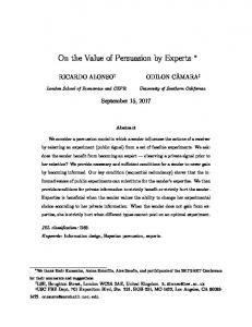 On the Value of Persuasion by Experts - Semantic Scholar