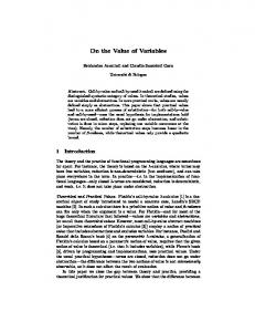 On the Value of Variables