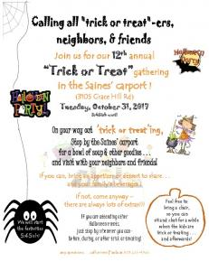 On your way out 'trick or treat'ing -