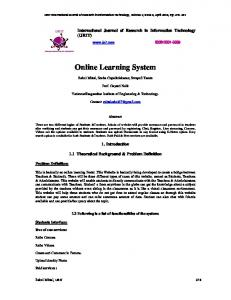 Online Learning System - International Journal of Research in ...