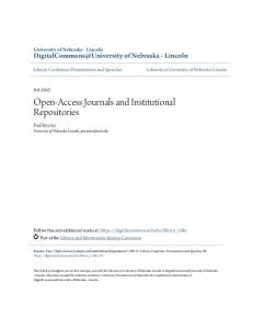 Open-Access Journals and Institutional Repositories