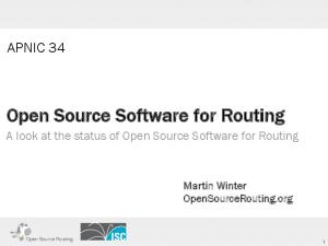 Open Source Software for Routing