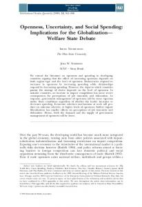 Openness, Uncertainty, and Social Spending - Wiley Online Library