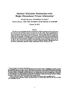 Optimal Allocation Mechanisms with Single ... - Semantic Scholar