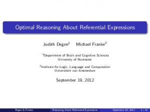 Optimal Reasoning About Referential Expressions