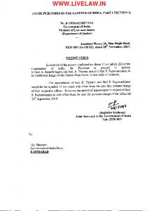 Orders of appointment of Additional Judges of Madras High Court ...
