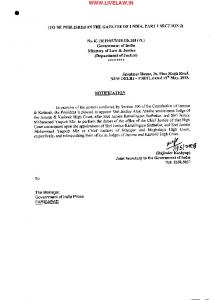 Orders of appointment of Justice Alok Aradhe as Acting Chief Justice ...