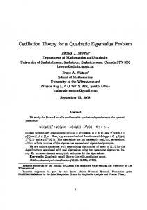 Oscillation Theory for a Quadratic Eigenvalue Problem