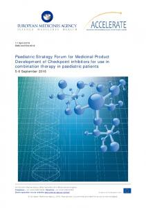 Paediatric strategy forum for medicinal product development of