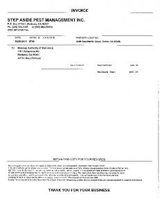 Page 1 INVOICE STEP ASIDE PEST MANAGEMENT INC. P.O. Box ...