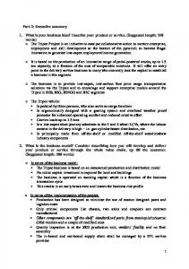 Part 2: Executive summary 1. What is your ... -