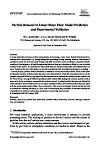 Particle Removal in Linear Shear Flow: Model Prediction and ...