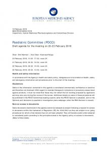 PDCO agenda of the 20-23 February 2018 meeting