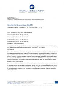 PDCO agenda of the 23-26 January 2018 meeting - European ...