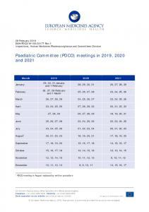 PDCO meeting dates 2019, 2020 and 2021 - European Medicines ...
