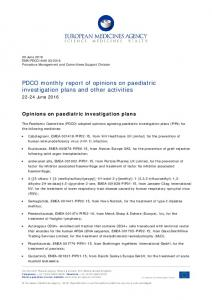 PDCO Monthly report 22-24 June 2016 - European Medicines Agency
