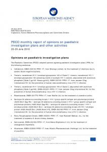 PDCO monthly report of opinions on paediatric investigation plans and ...