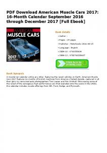 PDF Download American Muscle Cars 2017