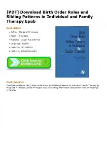 [PDF] Download Birth Order Roles and Sibling Patterns ...