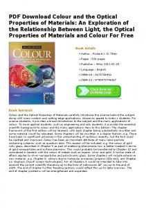 PDF Download Colour and the Optical Properties of ...