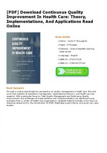 [PDF] Download Continuous Quality Improvement In ...
