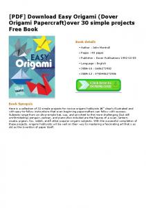 [PDF] Download Easy Origami (Dover Origami Papercraft)