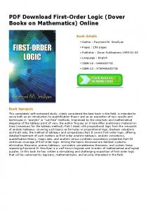 PDF Download First-Order Logic (Dover Books on Mathematics ...