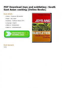 PDF Download Joys and subtleties;: South East Asian ...