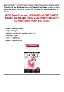 [PDF] Download LEARNING ABOUT DANCE DANCE Full Books.pdf ...