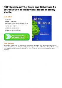 PDF Download The Brain and Behavior: An Introduction to Behavioral ...