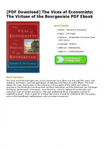 [PDF Download] The Vices of Economists; The Virtues ...