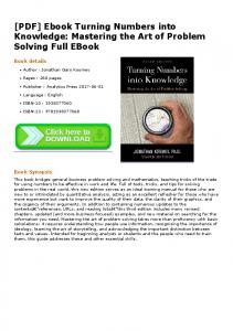 [PDF] Ebook Turning Numbers into Knowledge