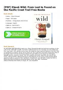 [PDF] Ebook Wild: From Lost to Found on the Pacific Crest Trail Free ...