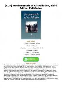 [PDF] Fundamentals of Air Pollution, Third Edition Full ...