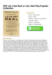 PDF Let s Get Real or Let s Not Play Popular Collection
