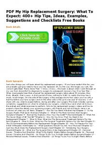 PDF My Hip Replacement Surgery: What To Expect ...