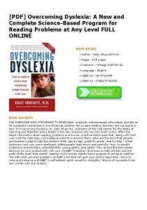 [PDF] Overcoming Dyslexia: A New and Complete ...