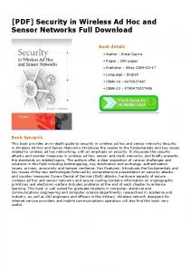 [PDF] Security in Wireless Ad Hoc and Sensor ...
