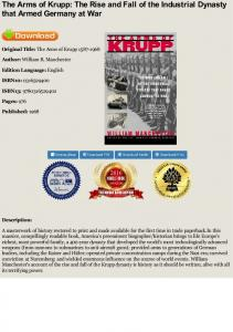 PDF The Arms of Krupp: The Rise and Fall of the ...