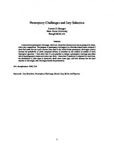 Peremptory Challenges and Jury Selection