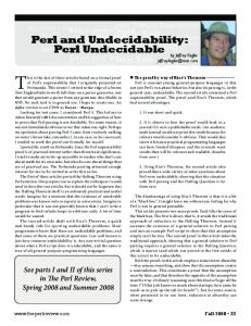 Perl and Undecidability: Perl Undecidable