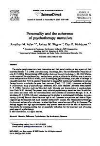 Personality and the coherence of psychotherapy ...