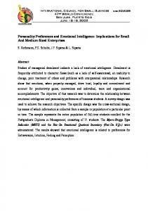Personality Preferences and Emotional Intelligence ...