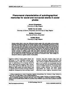 Phenomenal characteristics of autobiographical memories for social ...