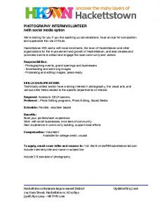 PHOTOGRAPHY INTERN/VOLUNTEER /with social ...