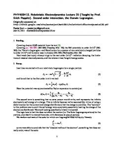 PHY450H1S. Relativistic Electrodynamics Lecture ... - Peeter Joot's Blog